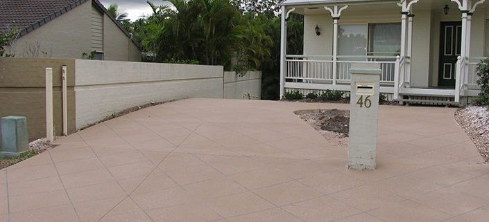 Concrete Stencil Driveway Sunshine Coast -Square Pattern Decorative Concrete Service